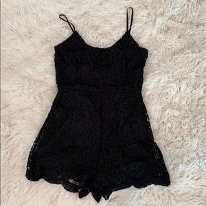 NWOT Misguided Black Lace Romper